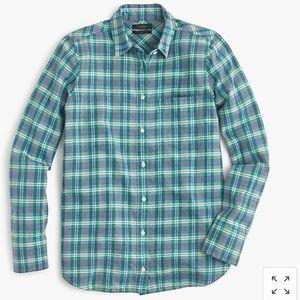 J. Crew Boy Fit Green Blue Plaid Button Front Top